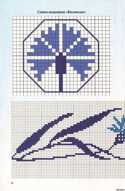 Василек схема вышивки крестом 89