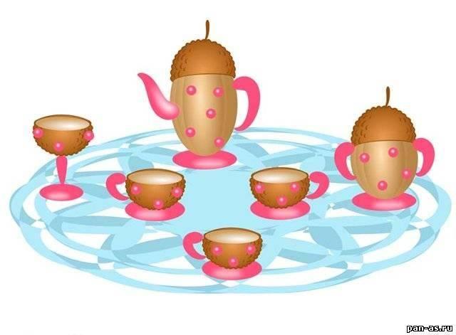Чайный сервиз из желудей. Детские поделки из природного материала своими руками - Детские поделки из природного материала - Маст